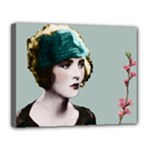 Art Deco Woman in Green Hat Canvas 14  x 11  (Stretched)