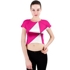 Pink White Art Kids 7000 Crew Neck Crop Top by yoursparklingshop