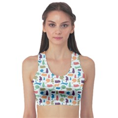 Blue Colorful Cats Silhouettes Pattern Women s Sports Bra by Contest580383