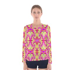 Pink And Yellow Rave Pattern Women s Long Sleeve T Shirt by KirstenStarFashion