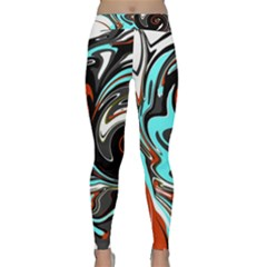 Abstract In Aqua, Orange, And Black Yoga Leggings by theunrulyartist