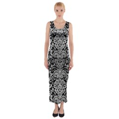 Damask2 Black Marble & Silver Brushed Metal Fitted Maxi Dress