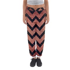 Chevron9 Black Marble & Copper Brushed Metal (r) Women s Jogger Sweatpants by trendistuff