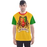 Red Gold and Green Rasta Crest Men s Sport Mesh Tee