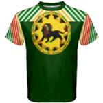 Red Gold and Green Jah King Rasta Lion Men s Cotton Tee