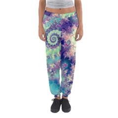 Violet Teal Sea Shells, Abstract Underwater Forest (purple Sea Horse, Abstract Ocean Waves  Women s Jogger Sweatpants