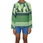 Abstract Jungle Green Brown Geometric Art Kid s Long Sleeve Swimwear
