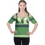Abstract Jungle Green Brown Geometric Art Women s Cutout Shoulder Tee