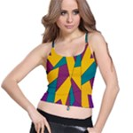 Bursting Star Poppy Yellow Violet Teal Purple Spaghetti Strap Bra Top