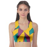 Bursting Star Poppy Yellow Violet Teal Purple Sports Bra