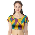 Bursting Star Poppy Yellow Violet Teal Purple Short Sleeve Crop Top (Tight Fit)