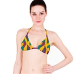 Bursting Star Poppy Yellow Violet Teal Purple Bikini Top