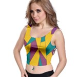 Bursting Star Poppy Yellow Violet Teal Purple Crop Top