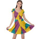Bursting Star Poppy Yellow Violet Teal Purple Cap Sleeve Dresses