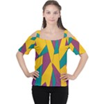 Bursting Star Poppy Yellow Violet Teal Purple Women s Cutout Shoulder Tee