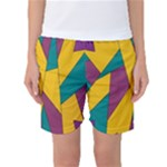 Bursting Star Poppy Yellow Violet Teal Purple Women s Basketball Shorts