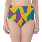 Bursting Star Poppy Yellow Violet Teal Purple High-Waist Bikini Bottoms