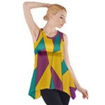Bursting Star Poppy Yellow Violet Teal Purple Side Drop Tank Tunic