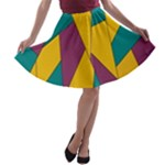 Bursting Star Poppy Yellow Violet Teal Purple A-line Skater Skirt