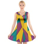 Bursting Star Poppy Yellow Violet Teal Purple V-Neck Sleeveless Skater Dress
