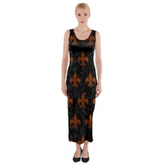 Royal1 Black Marble & Brown Burl Wood (r) Fitted Maxi Dress