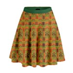 Red Gold and Green Colourful Kente Pattern High Waist Skirt