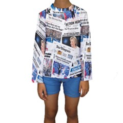 Hillary 2016 Historic Newspaper Collage Kid s Long Sleeve Swimwear by blueamerica