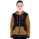 Red Gold and Green Colourful Kente  Women s Zipper Hoodie