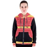 Red and Yellow Modern Mudcloth Women s Zipper Hoodie