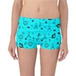 POTS Mermaid Print In Turquoise Boyleg Bikini Bottoms