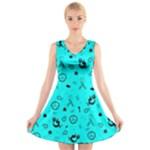 POTS Mermaid Print In Turquoise V-Neck Sleeveless Skater Dress