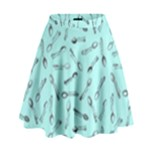 Spoonie Strong Print in Light Turquiose High Waist Skirt