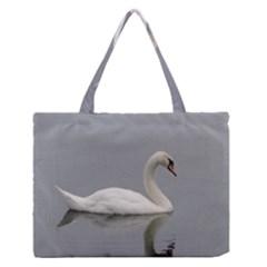 Swimming White Swan Medium Zipper Tote Bag