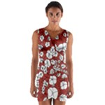 Cvdr0098 Red White Black Flowers Wrap Front Bodycon Dress