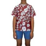 Cvdr0098 Red White Black Flowers Kids  Short Sleeve Swimwear