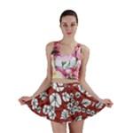 Cvdr0098 Red White Black Flowers Mini Skirt