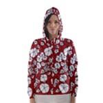 Cvdr0098 Red White Black Flowers Hooded Wind Breaker (Women)