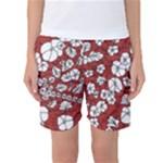 Cvdr0098 Red White Black Flowers Women s Basketball Shorts