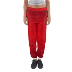 Decorative Red Christmas Background With Snowflakes Women s Jogger Sweatpants by TastefulDesigns