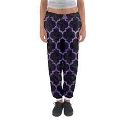 Tile1 Black Marble & Purple Marble Women s Jogger Sweatpants by trendistuff