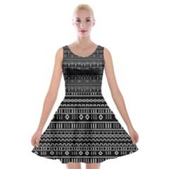 Black Modern Mudcloth Velvet Skater Dress from Saytoons