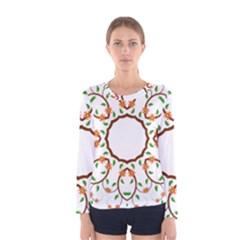 Frame Floral Tree Flower Leaf Star Circle Women s Long Sleeve Tee by Alisyart