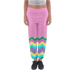 Easter Chevron Pattern Stripes Women s Jogger Sweatpants by Amaryn4rt