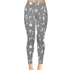 Light Gray Cute White Cats Pattern Leggings by CoolDesigns