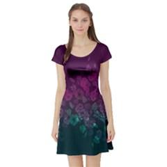 Purple & Navy Vintage Floral Short Sleeve Dress by CoolDesigns
