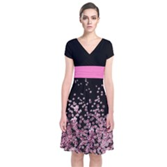 Blossom Night Japanese Style Cherry Blossom Short Sleeve Front Wrap Dress by CoolDesigns