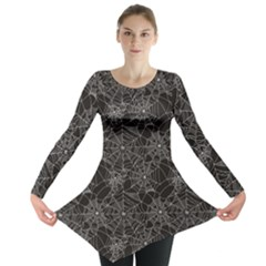 Black Halloween Spider Web Pattern Long Sleeve Tunic Top by CoolDesigns