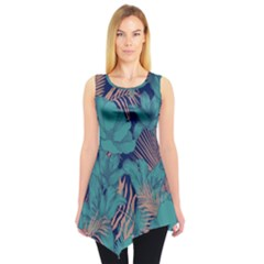 Blue Floral Sleeveless Tunic Top by CoolDesigns