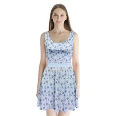 Light Blue Floral 3 Split Back Mini Dress  by CoolDesigns