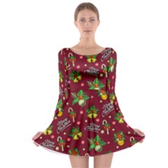 Xmas Logo Wine Long Sleeve Skater Dress by CoolDesigns
